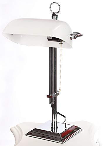 Bankerlampe Tischleuchte Chrom silber Schreibtischlampe Büroleuchte Jugendstil xcl121 Palazzo Exklusiv