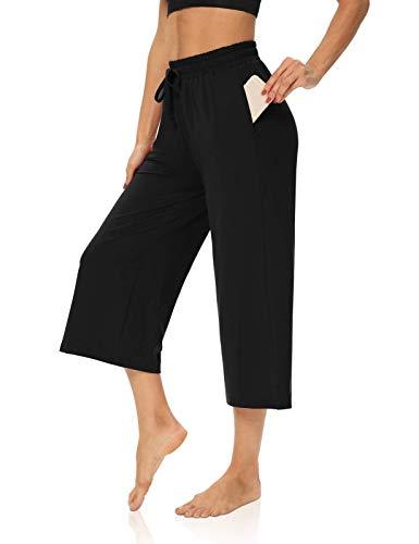 DIBAOLONG Womens Capri Pants Loose Yoga Pants Wide Leg Drawstring Comfy Lounge Pajama Capris Sweatpants with Pockets Black XL