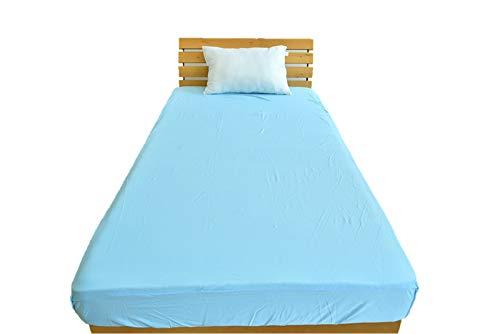 DX-α 強冷感 ニット ボックスシーツ セミダブルサイズ 120×200×30cm 接触冷感 ベッドシーツ ひんやり ベッドカバー ブルー/強冷感/ボックスシーツ