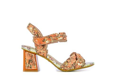 Laura Vita, Hackio 03, sandalias de piel para mujer, zapatos de ciudad de verano, con suela cómoda de tacón, estilo original flor, coral, Naranja (coral), 38 EU
