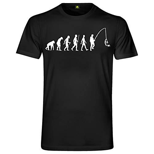 Evolution Angeln T-Shirt | Angler | Angel | Fischen | Fisch | Hecht | Zander Schwarz L