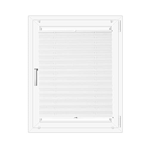 OBdeco Plissee Rollo Klemmfix ohner Bohren lichtdurchlässig Crushed Optik Faltrollo für Fenster Easyfix Weiß 85x130cm