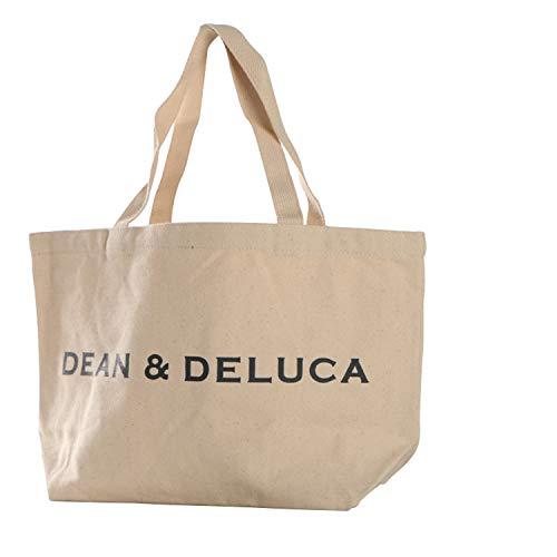 GlobalEdge Dean & Deluca Canvas Tote Shoulder Bag Great for Grocery Shopping, BEIGE