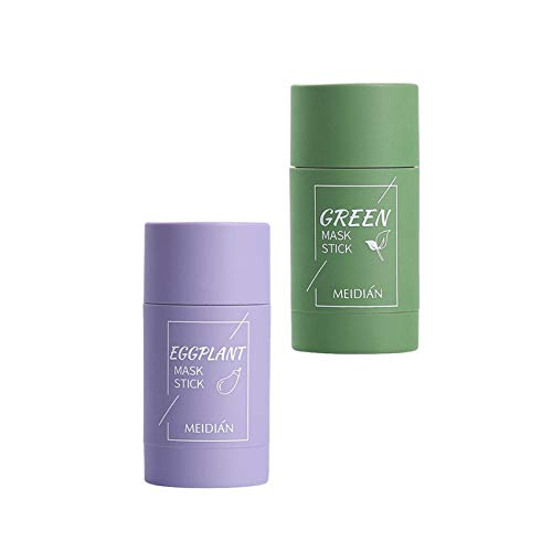 Green Tea/Eggplant Purifying Clay Stick Mask, Peel Off Blackhead Remover Mask, Deep Cleansing Oil Control Pores Purifying Solid Mask for Anti Acne, for All Type of Skin (2pcs)