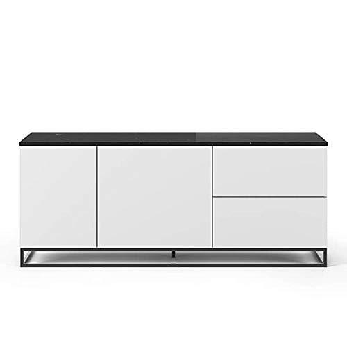 Buffets Design et élégants, Collection Join, signée TEMAHOME. - Join 160L2, piétement Acier Noir, Blanc Mat, Plateau en marbre
