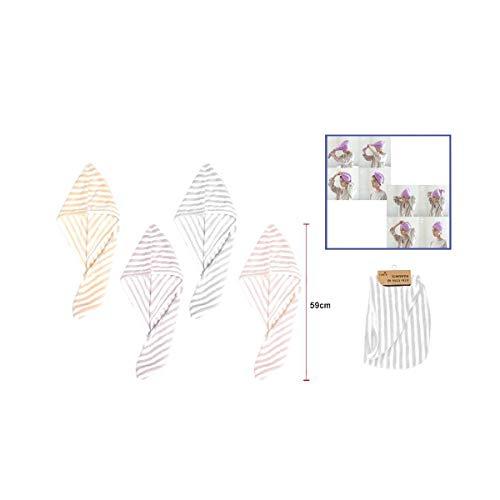 Cisne 2013, S.L. Toalla para secar el Pelo Turbante secapelo. Toalla Microfibra Secado rapido para el Pelo. Diseño de Rayas. Tamaño 59cm. Color Morado.
