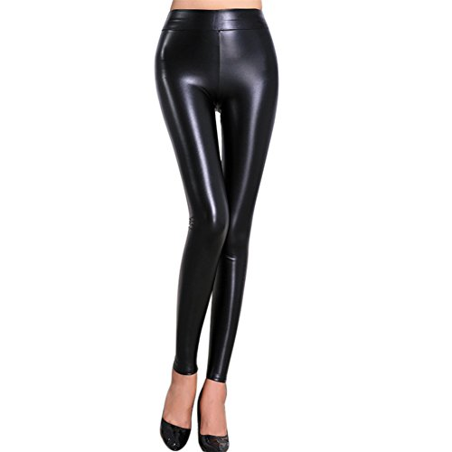 LAEMILIA Leggings Lederleggings Stretch Skinny High Waist Hose in Leder-Optik Treggins Smooth Strumpfhose Lederoptik Slim Schwarz Glanz