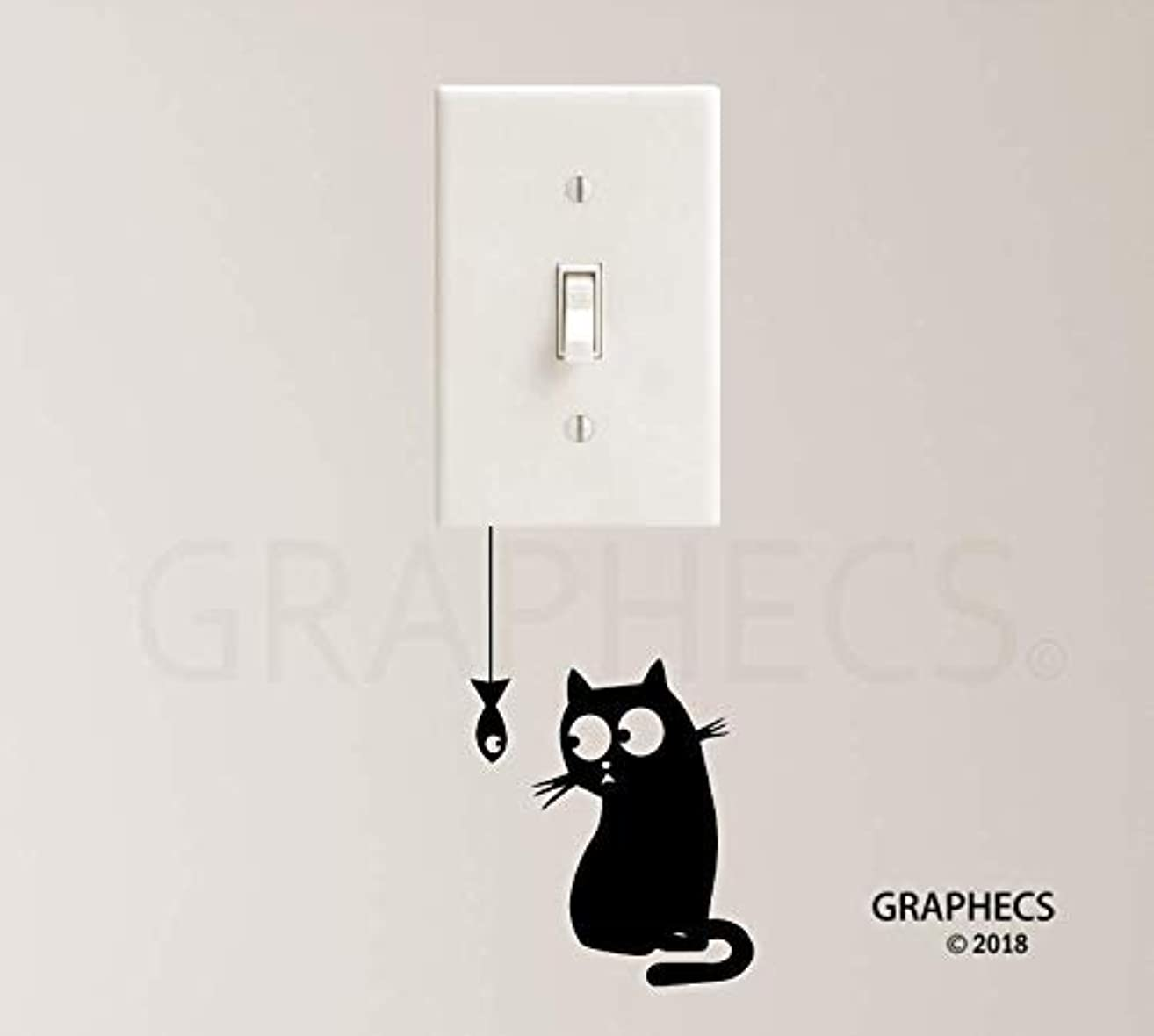 Hungry Cat Vinyl Decal Sticker Light Switch Kids Nursery Home Decor