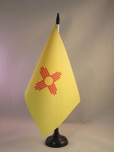 AZ FLAG New Mexico Table Flag 5'' x 8'' - US state of Nouveau-Mexique Desk Flag 21 x 14 cm - Black plastic stick and base