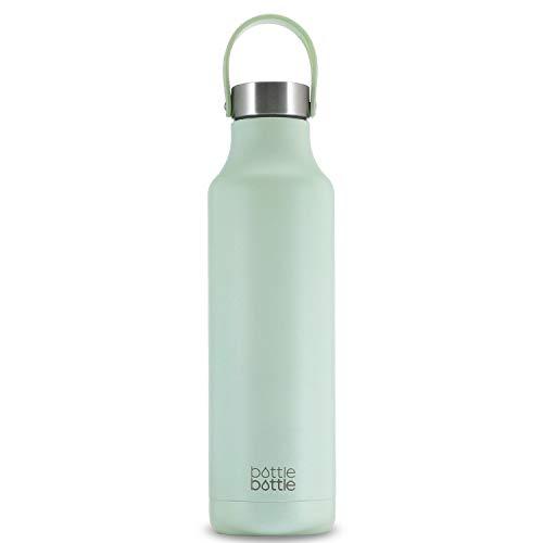 水筒 600ml 子供 直飲み 保温保冷 真空断熱 ボトル ステンレス ウォーターボトル 持ち運び おしゃれ ボトルブラシ付き 緑 BOTTLE BOTTLE
