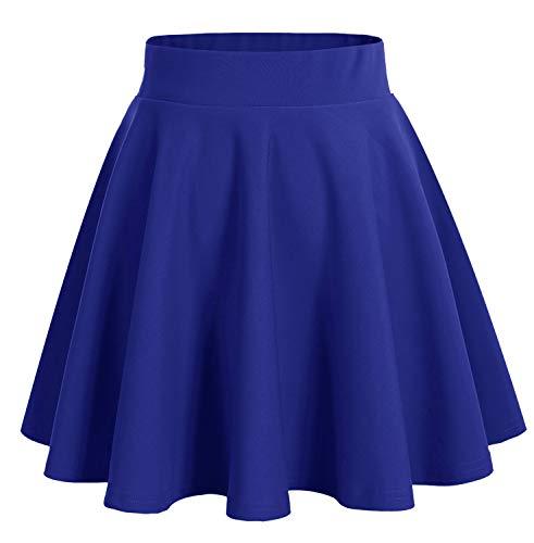 Dresstells DRESSTELLS Damen Basic Solide Vielseitige Dehnbar Informell Mini Glocken Rock Royalblau L