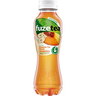 Fuze Tea Schwarzer Tee Pfirsich Holunder ohne Zucker, 12er Pack (12 x 0.4 l) EINWEG