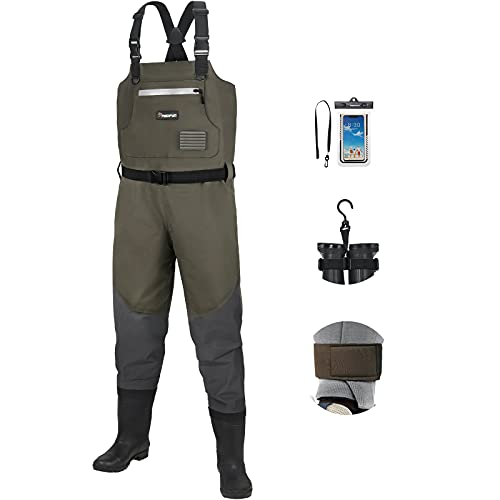 Piscifun BX Breathable Fishing Chest Waders with Boots, Bootfoot Chest Waders, 3-Layer Polyester Fishing & Hunting Waders for Men and Women, Bootfoot Waders with Boot Hanger (Brown & Camouflage)