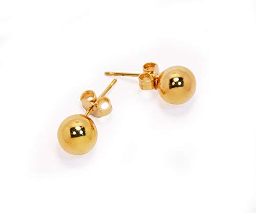 Pendientes chapados en oro de forma redonda simple ideales para regalar en Navidad, cumpleaños, San Valentín o Día de la Madre.