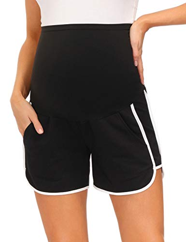 Maacie Maternity Shorts Full Panel Shorts Casual Workout Shorts Cotton Elastic Waist