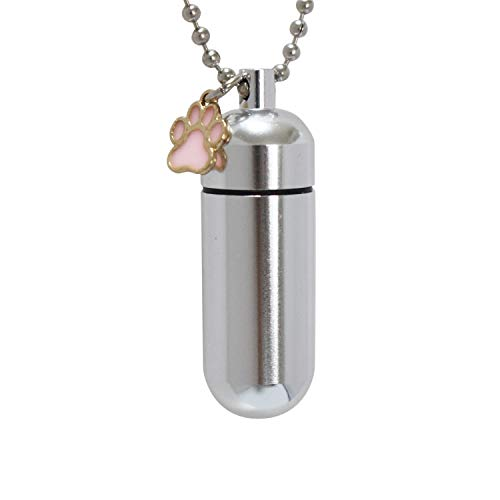 メモリアルペンダント ネックレス 肉球チャーム フットプリント 遺骨カプセル Mサイズ (ピンク)