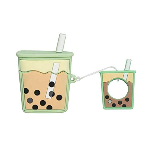 Cocomii 3D Drink AirPods Case, Slim Thin Glossy Soft TPU Silicone Rubber Gel with Keychain Ring 3D Food & Drink Cartoon Fashion Case Bumper Cover Compatible with Apple AirPods (Green Milk Tea)