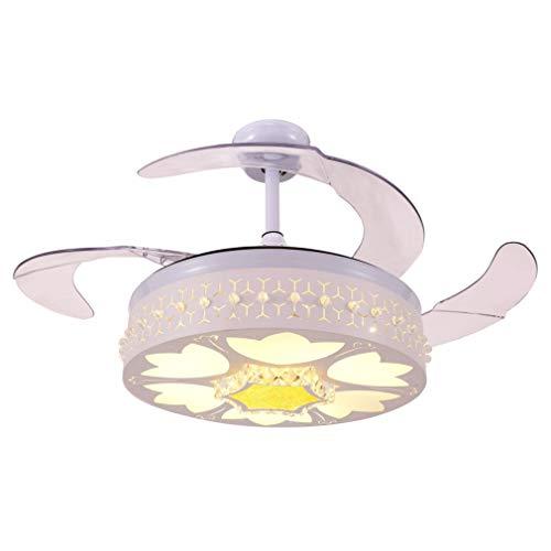 FLYFO Gastronomie Deckenventilator Beleuchtung, Schlafzimmer Moderne Deckenventilator Lichter Kreative Led Fan-Kronleuchter Kristall Wohnzimmer Unsichtbare Deckenventilator Lichter