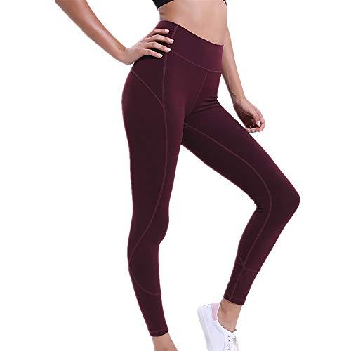 Fyj Sporthose Damen Leggings Yogahose Laufhose Fitnesshose Blickdicht Yoga Sport Tights für atmungsaktiv Jogginghose dehnbar Trainingshose Sporthose verstellbar Umschlagbund Frühling Sommer 2020