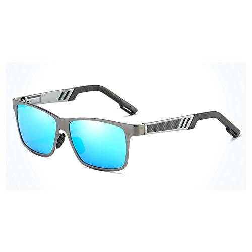 CJYTYJ Gafas de Sol de los Hombres de Aluminio polarizado Magnesio Película Colorida Espejos de conducción Gafas de Sol ovaladas Gafas de Pesca