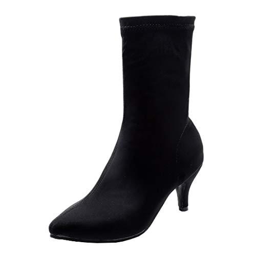 MISSUIT Damen Kitten Heels Stiefeletten Stretch Sock Ankle Boots Spitz Kleiner Absatz Schlupfstiefel(Schwarz,40)