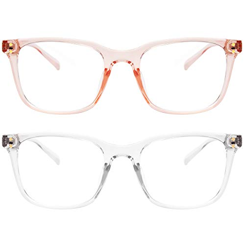 Livho 2 Pack Blue Light Blocking Computer Glasses for Women Men,TR90 Light Weight Frame Anti Eyestrain UV Lens LI5025 (Clear+Clear Pink)