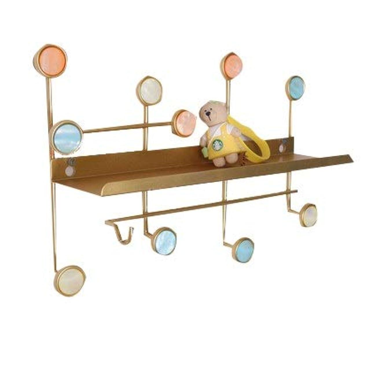 以内に予測する奇妙なJIAYING ハンガーラック 壁掛けメタルウォールハンガーオーガナイザー、装飾的なヴィンテージハンギング収納ラック付き1メタル収納棚付き帽子、タオル、ネックレスとキー (色 : ゴールド, サイズ さいず : 35×10×23CM)