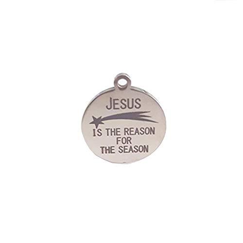 Defect Schlüsselanhänger Edelstahl Schlüsselanhänger Anhänger Schriftzug Jesus ist der Grund für die Saison 19Mm 2 Stück Set