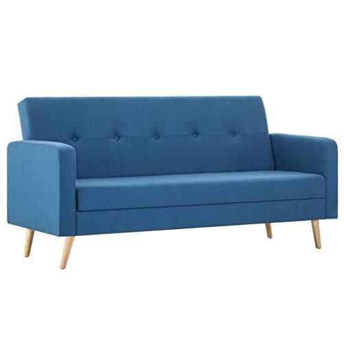 vidaXL Sofá Cama de Tela Azul Mueble Sillón Somier Asiento Silla Salón Hogar