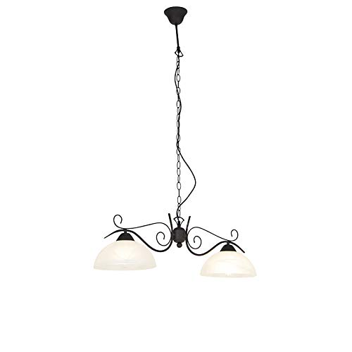 QAZQA rústico Lámpara colgante rústica vidrio marrón - DALLAS 2 /Metálica Redonda/Alargada Adecuado para LED Max. 2 x 120 Watt