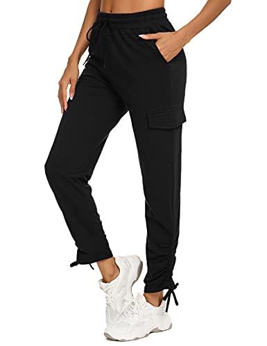 Wayleb Pantalon de Jogging Femme Pantalons Sport ÉtéPantalon de Survêtement Long Bas de Fitness avec Cordon de Cheville Pants Léger Confortabl,M+Noir