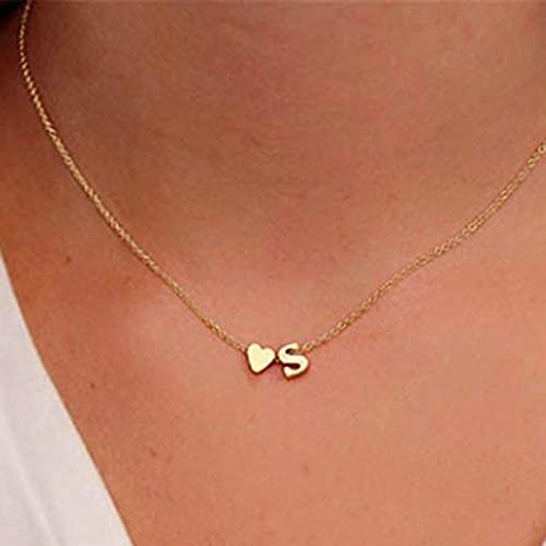 Jovono Collar con colgante de corazón dorado con forma de letra S para mujeres y niñas