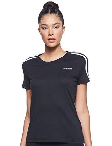adidas Damen T-Shirt Essentials 3-Streifen Slim, Black/White, S, DP2362