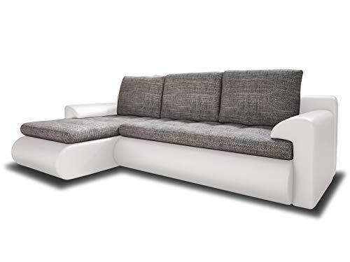Ecksofa Santi - Polsterecke L-Form, Schlafsofa mit Bettkasten, Couchgarnitur mit Schlaffunktion, Couch, Sofa, Sofagarnitur (Weiß + Grau (Madryt 120 + Berlin 01), Ecksofa Links)