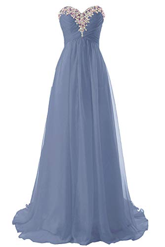 JAEDEN Prom Dress Bridesmaid Dresses Long Prom Gowns Chiffon Formal Evening Gown A line Evening Dress Stormy US4 Dusty Blue Chiffon Formal Evening Dress