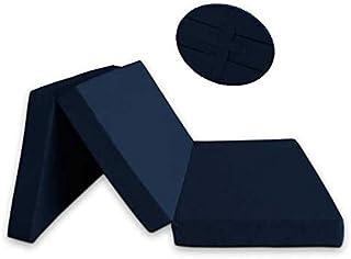 Ventadecolchones - Colchón Plegable con 3 cm de Viscoelastica con Cierre y Asa 120cm x 190cm x 10cm con Espuma en Densidad 25kg/m3 (extrafirme) y Funda con Cremallera en Loneta Premium Azul