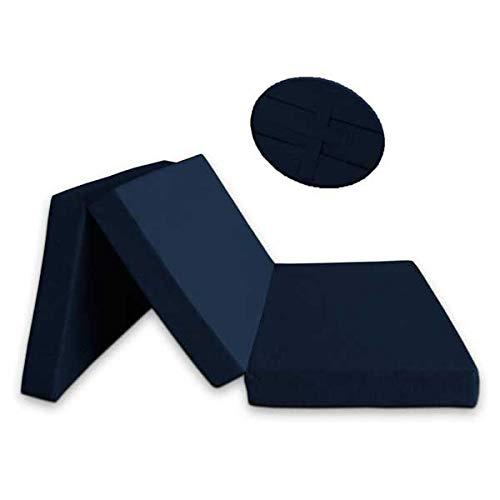 Ventadecolchones - Colchón Plegable con 3 cm de Viscoelástica con Cierre y Asa 120 cm x 190 cm x 10 cm con Espuma en Densidad 25kg/m3 (extrafirme) en Loneta Premium Azul