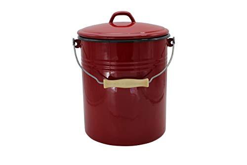 Mülleimer mit Deckel emailliert, rot, 10 Liter