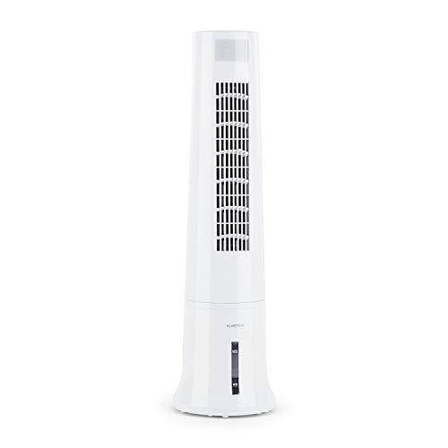 Klarstein Highrise - 3-in-1 Luftkühler, Ventilator, Luftbefeuchter 35W 530 m³/h max.2,5L Eispack, drei Ventilationsmodi, Oszillationsfunktion, Timer, Tragemulde, Fernbedienung, antikweiß