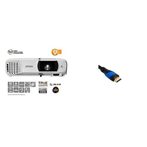 Epson EH-TW650 3LCD-Projektor (Full HD, 3100 Lumen, 15.000:1 Kontrast) & KabelDirekt - 4K HDMI Kabel - 5m - TOP Series, Schwarz/Blau
