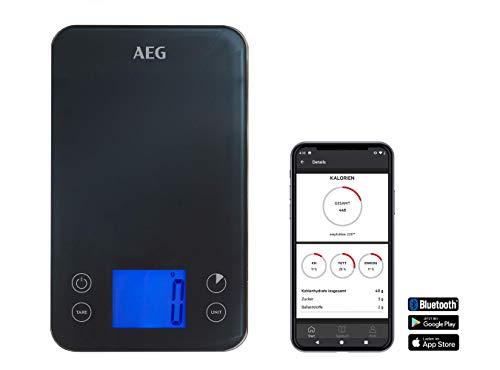 AEG ABKS1 Küchenwaage digital (Digitalwaage, elektronische Waage, grammgenau, App-Bedienung, vorprogrammierte Lebensmittel, Tara-Funktion, Nährwertübersicht, Touchscreen, Design, Timer, Fitness, grau)