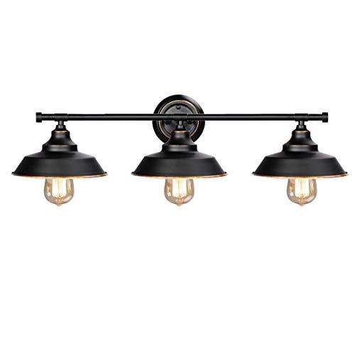 Wandlamp Vintage Industrial badkamer spiegellamp wandhouder 3-vlammig E27 LED spiegellamp spiegelkast zwart badkamer wandlampen van metaal wandlamp binnen badkamer lamp muur opbouwlamp