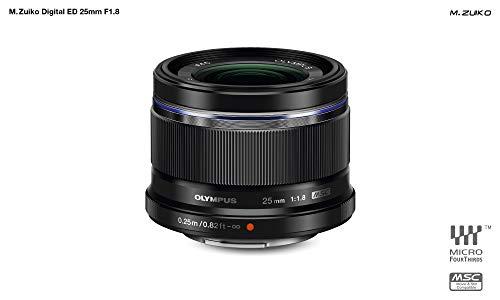 Objetivo Olympus M.Zuiko Digital 25 mm F1.8, Longitud Focal Fija rápida, Apto para Todas Las cámaras MFT (Modelos Olympus OM-D & Pen, Serie G de Panasonic), Negro