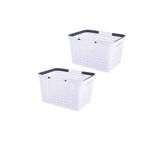 YISION Plastic Storage BasketsPortable Round Hole Plastic Storage Basket with Handle for Collection of Bedroom Supplies Kitchen Supplies and Bathroom Supplies -12 x 89 x 71 Inch White2-Pack