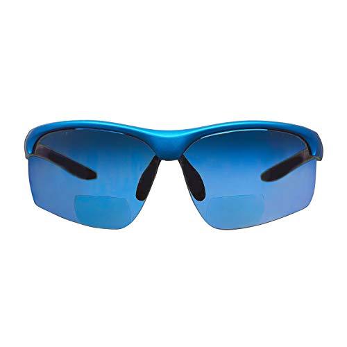 Gafas bifocales de seguridad para lectura voltX 'CONSTRUCTOR ULTIMATE' (montura azul, lentes de espejo azules Dioptría +2.5) CE EN166FT, Bifocales Ciclismo Deportivo PREMIUM - UV400