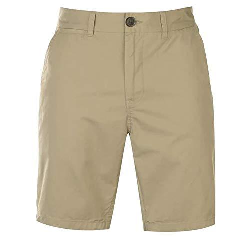 Pierre Cardin Hombre Pantalones Cortos Chinos Clásicos 100% Algodón conCintura Trenzada - Multicolor - Mediana - XX tamaños Grandes Disponibles (Small, Sin Cinturón - Stone)