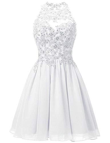 JAEDEN Ballkleider Hochzeitskleider Kurz Brautjungfernkleid Chiffon Spitze Neckholder Weiß EUR36