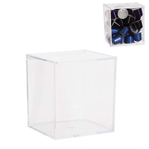 DECOLine - Caja para 40 cápsulas de Nespresso, Cristal acrílico, 13 cm