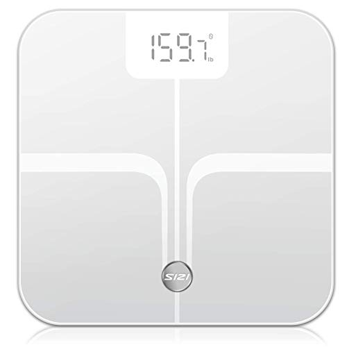 Digital Body Weight Bathroom Scale, FXQ High Precision Sensor Digital Bathroom Scale with Large Blue LCD Backlight Display, 8MM Shatter-Resistant Tempered Glass and Body Measuring Tape (Black)