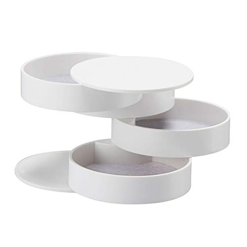 ENJY Joyero 2 unids joyería Caja 4 Capas de plástico plástico Caja Pendientes Caja de Anillo Caja de Almacenamiento de joyería Multifuncional (Color : White)